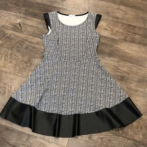 Cute Black and White Dress with Leather Accents